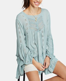 Free People Kiss Kiss Embroidered Lace Tunic