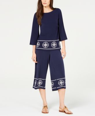 Studded Wide-Leg Pants, Regular & Petite Sizes