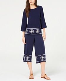 MICHAEL Michael Kors Petite Boat-Neck Studded Top & Petite Studded Border Wide-Leg Gaucho Pants