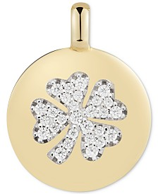 "CHARMBAR™ Swarovski Zirconia Clover ""Lucky to Have"" Reversible Charm Pendant in 14k Gold-Plated Sterling Silver"