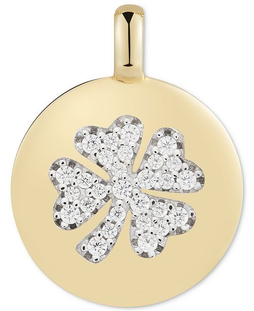"""CHARMBAR Swarovski Zirconia Clover """"Lucky to Have"""" Reversible Charm Pendant in 14k Gold-Plated Sterling Silver"""