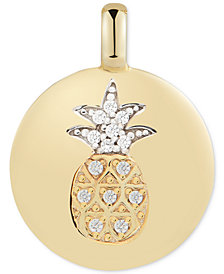 "CHARMBAR™ Swarovski Zirconia Pineapple ""Stay Golden"" Reversible Charm Pendant in 14k Gold-Plated Sterling Silver"
