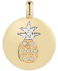 "CHARMBAR™ Swarovski Zirconia Pineapple ""Stay Golden"" Reversible Charm Pendant in 14k Gold-Plated Sterling Silver"