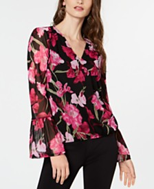 I.N.C. Petite Bell-Sleeve Surplice Top, Created for Macy's