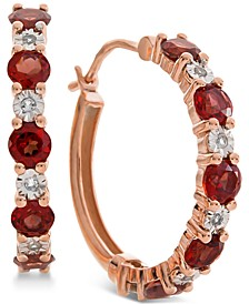 Garnet (1-1/8 ct. t.w.) & Diamond Accent Hoop Earrings in 14k Rose Gold (Also Available in Amethyst & Blue Topaz)