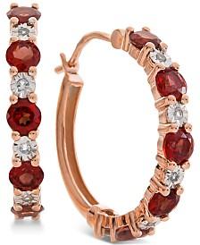 Garnet (1-1/8 ct. t.w.) & Diamond Accent Hoop Earrings in 14k Rose Gold (Also Available in Amethyst & Blue Topaz)