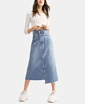09efdf65289 Free People Cotton Asymmetrical Denim Midi Skirt