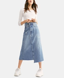 Free People Cotton Asymmetrical Denim Midi Skirt