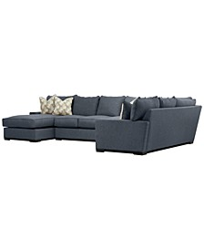 "Tuni 102"" 3-Pc. Fabric Chaise Sectional Sofa with 3 Cushion Armless Apartment Sofa, Created for Macy's"