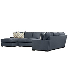 Tuni 3-Pc. Fabric Chaise Sectional Sofa with 3 Cushion Armless Apartment Sofa, Created for Macy's
