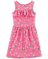 e74338cf7 Carter's Little & Big Girls Butterfly-Print Ruffled Dress