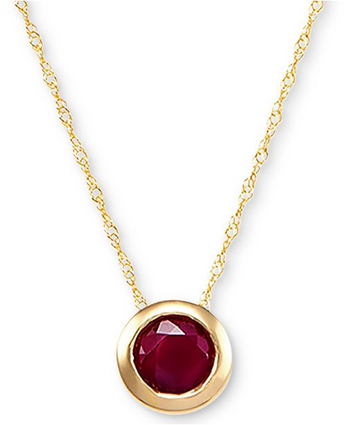 "Macy's Birthstone 18"" Bezel Pendant Necklace in 14k Gold"
