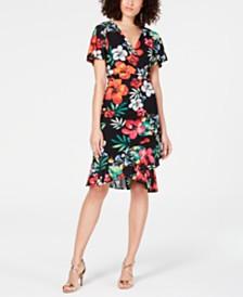 Thalia Sodi Floral-Print Wrap Dress, Created for Macy's