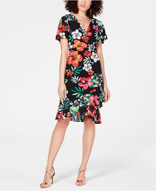 Thalia Sodi Floral-Print Wrap Dress, Created for Macy's