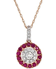 "Certified Ruby (3/8 ct. t.w.) & Diamond (1/4 ct. t.w.) 18"" Pendant Necklace in 14k Rose Gold (Also Available in Sapphire or Emerald)"