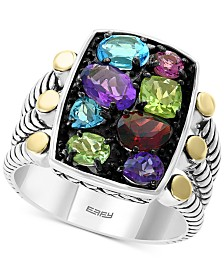 EFFY® Multi-Gemstone Statement Ring (2-3/8 ct. t.w.) in Sterling Silver & 18k Gold-Plate