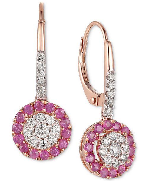 Macy's Certified Ruby (5/8 ct. t.w.) & Diamond (3/8 ct. t.w.) Drop Earrings in 14K Gold (Also Available in Sapphire &  Emerald)
