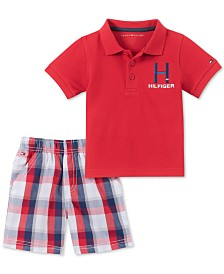 Tommy Hilfiger Baby Boys 2-Pc. Polo Shirt & Plaid Shorts Set