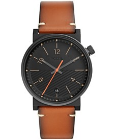 Fossil Mens Barstow black case brown leather strap