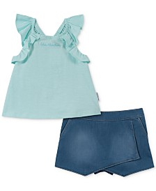 Calvin Klein Little Girls 2-Pc. Ruffle Tank Top & Denim Skort Set