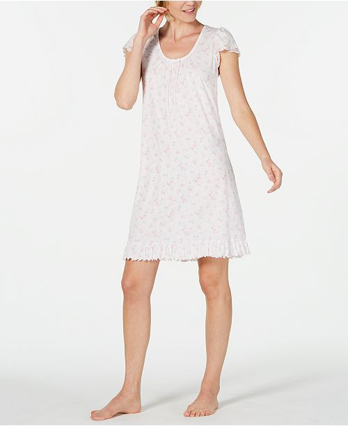 Miss Elaine Flutter-Sleeve Printed Knit Nightgown