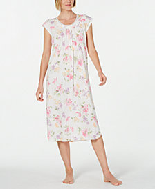 Miss Elaine Lace-Trim Printed Knit Long Nightgown