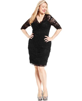 Marina plus size beaded lace dress dresses women macy 39 s for Macy s wedding dresses plus size