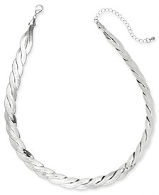 "Silver-Tone Braided Herringbone Collar Necklace, 16"" + 3"" extender, Created for Macy's"