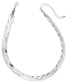 "Thalia Sodi Silver-Tone Braided Herringbone Collar Necklace, 16"" + 3"" extender, Created for Macy's"