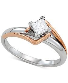Diamond Engagement Ring (1/2 ct. t.w.) in 14k White Gold & 14k Rose Gold
