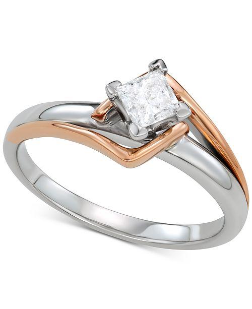 Macy's Diamond Engagement Ring (1/2 ct. t.w.) in 14k White Gold & 14k Rose Gold