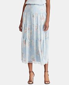 Lauren Ralph Lauren Petite Floral-Print Peasant Skirt