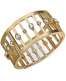 Thalia Sodi Gold-Tone Crystal Cage Stretch Bracelet, Created for Macy's