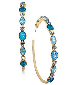 Thalia Sodi Gold-Tone Black Multi-Stone Hoop Earrings, Created for Macy's