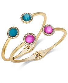 I.N.C. Gold-Tone 2-Pc. Set Stone & Crystal Halo Hinged Bangle Bracelets, Created for Macy's