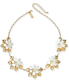 """I.N.C. Gold-Tone Imitation Pearl Flower Statement Necklace, 18"""" + 3"""" extender, Created for Macy's"""