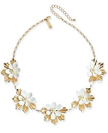 "I.N.C. Gold-Tone Imitation Pearl Flower Statement Necklace, 18"" + 3"" extender, Created for Macy's"