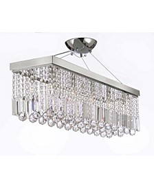 Modern 10-Light Chrome and Crystal Chandelier Pendant