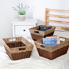 Set of 3 Rectangle Nesting Seagrass Baskets with Built-In Handles