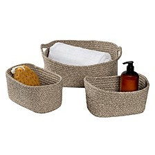 Set of 3 Nested Cotton Baskets with Handles