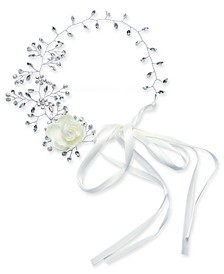 INC Silver-Tone Crystal Floral Ribbon Hairband, Created for Macy's