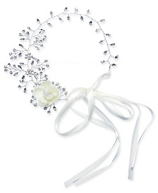 I.N.C. Silver-Tone Crystal Floral Ribbon Hairband, Created for Macy's