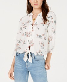 1.STATE Long-Sleeve Split-Neck Floral Top