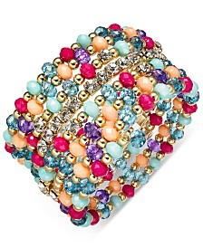 I.N.C. Gold-Tone Multicolor Crystal, Bead & Stone Coil Bracelet, Created for Macy's
