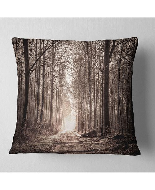 """Design Art Designart 'Forest Trail In Sepia' Landscape Photography Throw Pillow - 16"""" x 16"""""""