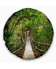 "Designart 'Bridge To Jungle Thailand' Landscape Photo Throw Pillow - 20"" Round"
