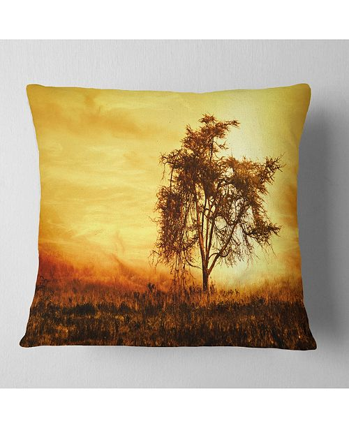 "Design Art Designart 'African Tree Silhouette' Landscape Photo Throw Pillow - 16"" x 16"""