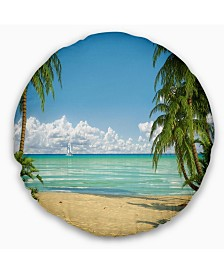 "Designart 'Palms At Caribbean Beach' Seashore Photo Throw Pillow - 20"" Round"