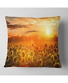 "Designart 'Yellow Sunset Over Sunflowers' Floral Throw Pillow - 16"" x 16"""