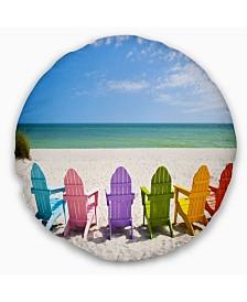 """Designart 'Adirondack Beach Chairs' Seashore Photo Throw Pillow - 20"""" Round"""